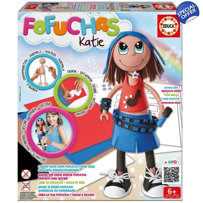 EDUCA Fofuchas Katie Build Your Own Foam Doll - 6+ Years