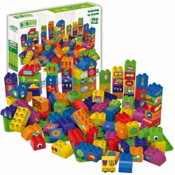 Biobuddi Large Mix Building blocks with 3 baseplates 100 p..