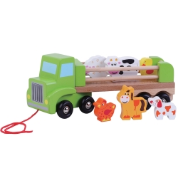 Jumini Childrens Wooden Pull Along Farm Lorry - 18+ Months