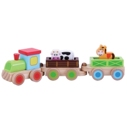Jumini Childrens Wooden Push Along Farm Train - 12+ Months