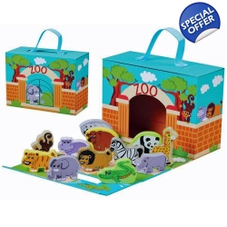 Jumini Childrens Wooden Characters Foldaway Zoo Set - 18+ ..