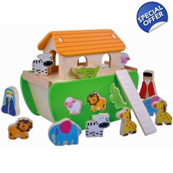 Jumini Childrens Wooden Noahs Ark Shape Sorter -..