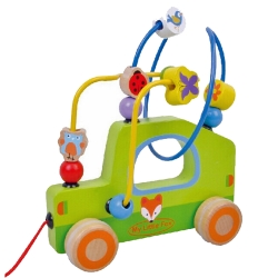 Jumini Childrens Wooden Pull Along Car Maze - 18+ Months
