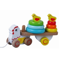 Jumini Childrens Wooden Pull Along Chicken 10 Pi..