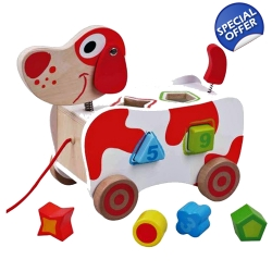 Jumini Childrens Wooden Pull Along Dog Shape Sorter - 12+ ..