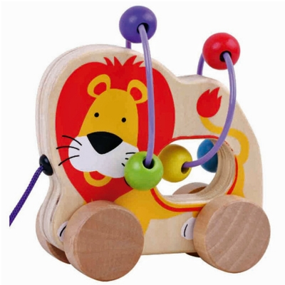 Jumini Childrens Wooden Pull Along Lion Bead Maze - 12+ Months