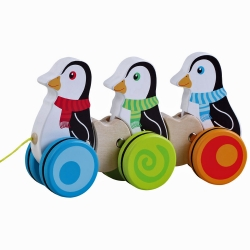 Jumini Childrens Wooden Pull Along Penguins - 12+ Months