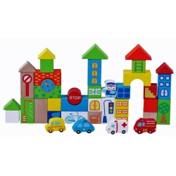 Jumini Childrens Wooden Traffic Building Blocks 40 Piece Set