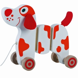 Jumini Childrens Wooden Walk Along Dog Pull Along Dog - 12..