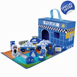 Jumini Childrens Wooden Characters Foldaway Police Station