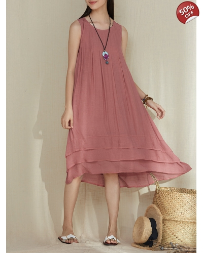 Solid Color Patchwork Irregular Pleated Sleeveless Vintage Dresses