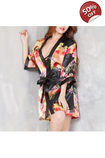 Sexy 3PCS Seducing Deep V Floral Exposed Breast Bathrobe Smooth Kimonos Sets Fro Women