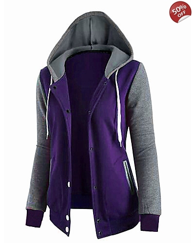 Women's Going out Cotton Hoodie - Solid Colored