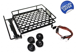1/10 Scaler Metal Grid Roof Rack, Round Lights