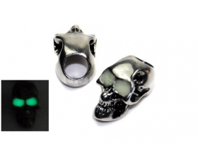 Gun Metal Skull Bead GITD Eyes