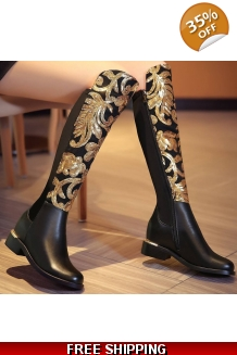 Genuine Leather Floral Boots