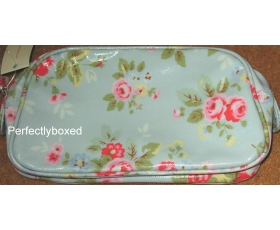 Cath Kidston Cosmetic Bag Trailing Flowers Blue Oilcloth