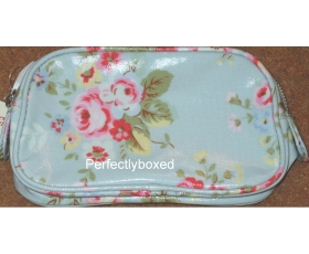 Cath Kidston Make Up Case Bag Trailing Flowers Blue Oilcloth