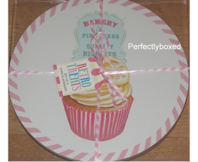 Round Cupcake Placemats Set 4 Pink Blue Retro