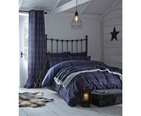 Blue Tartan King Duvet Cover Set Check