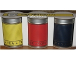 Retro Tea Coffee Sugar Tins Red Blue Yellow Set ..
