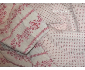 Greengate Quilt Audrey Raspberry Double Floral Toile