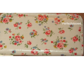 Cath Kidston Zip Wallet Kew Sprig Stone Floral Oilcloth