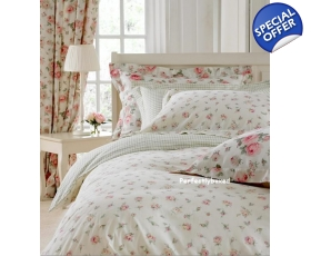 Cream Pink Rosebud Single Duvet Sashi Floral