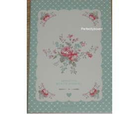 Greengate Abelone Mint Notebook Pink Floral Notepad A5
