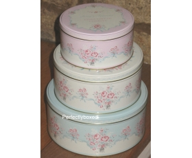 Greengate Set 3 Cake Storage Tins Betty White Vintage Floral