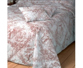Toile de Jouy Single Pink Bedspread Quilt Percale