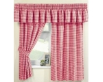 Red Gingham Curtains 66 x 54 Incl Pelmet Tie Bac..