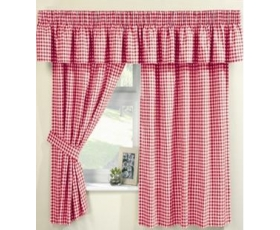 Red Gingham Curtains 66 x 48 Incl Pelmet Tie Backs Farmhouse