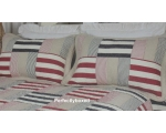 Bedspread Patchwork Aspen Double Blue Red Stripe..