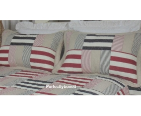 Bedspread Patchwork Aspen Double Blue Red Stripes + 2 Pillowshams