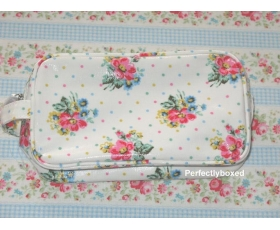 Cath Kidston Cosmetic Bag Wild Flowers White Floral Oilcloth