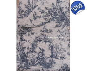 Bedspread Quilt Toile de Jouy Blue SuperKing + 2 shams Ancienne