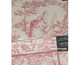 Toile de Jouy Percale Duvet King Pink + 2 oxford pillowcases