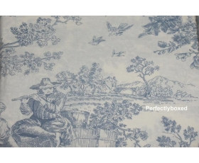 Toile de Jouy Percale Duvet Single Blue + pillowcase