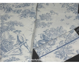 Toile de Jouy Curtains Blue 66 x 72 Lined Cotton Percale