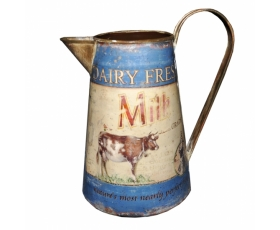 Dairy Fresh Milk Cow Rustic Jug 18cm Blue Vintage Retro
