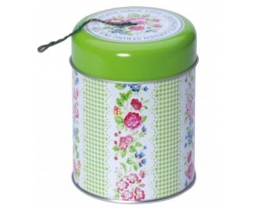 Greengate Tin Garden String Holder Green Gingham Floral