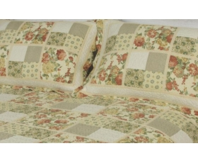 Patchwork Quilt Double Vintage Pink Cream + 2 shams Guinevere