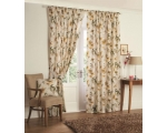 Yellow Cream Curtains 66 x 72 Retro Leaf Lined +..