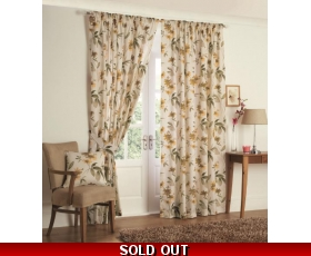 Yellow Cream Curtains 66 x 72 Retro Leaf Lined + tie backs Kerena