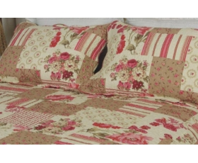 Patchwork Quilt King Pink Cream + 2 shams Laurenne