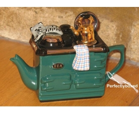 Aga Style Teapot One Cup Cat Green ceramic collectable