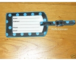 Luggage Tag Blue Polka Dot Spot Black