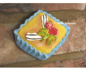 3D Cupcake Wall Plaque Blue Cake Strawberry