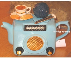 Retro Radio Style Teapot Blue Ceramic Collectable
